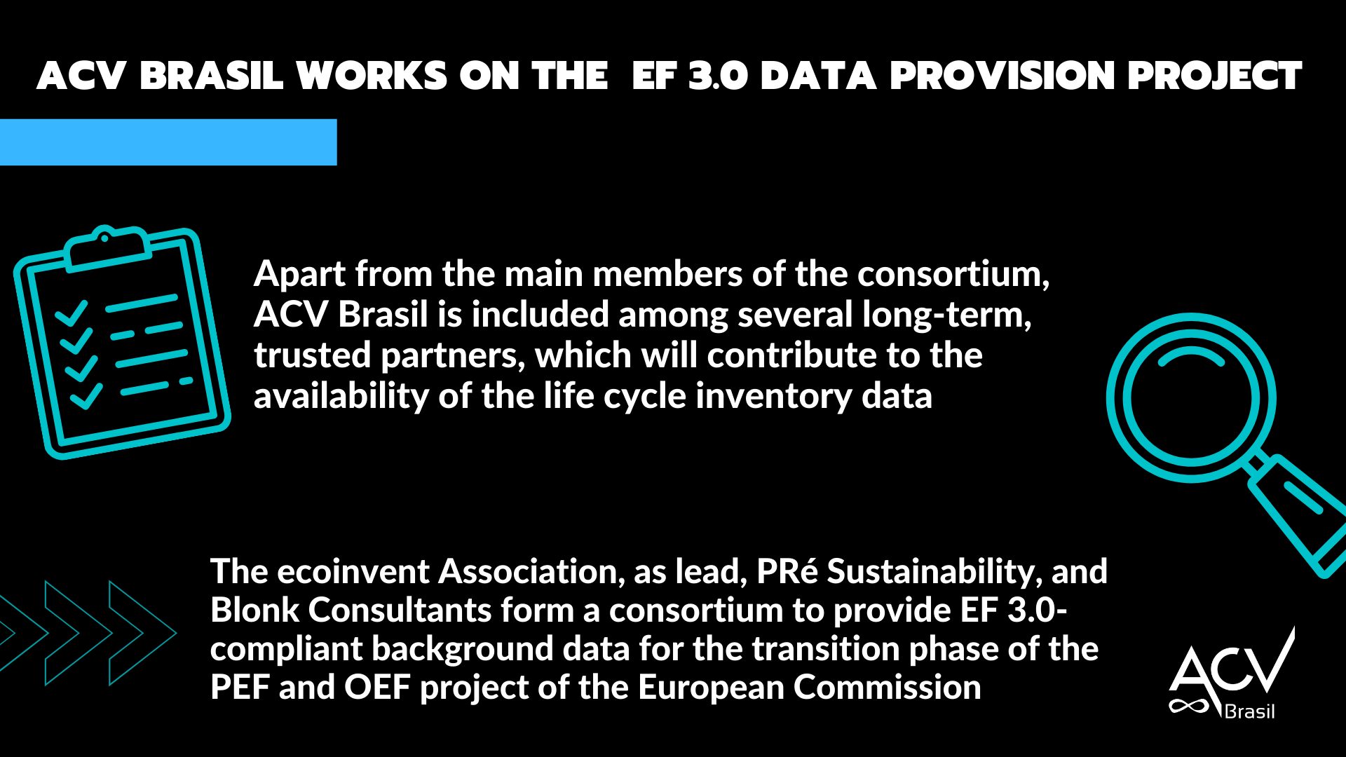 ACV Brasil works on the EF 3.0 Data Provision project led by ecoinvent